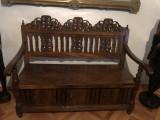 Scaun,bancheta,lavita veche englezeasca,din lemn sculptat