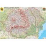 Romania si Republica Moldova. Harta fizica, administrativa si a substantelor minerale utile /Harta de contur (verso), 500x350 mm, fara sipci (LGHR2-IN