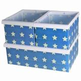 Set de 3 cutii Jocca, pentru organizare, design stele, Albastru/Alb