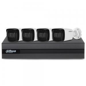 Sistem supraveghere exterior basic Dahua DH-B4EXT80-2MP-M, 4 camere, 2 MP, IR 80 m, microfon incorporat foto