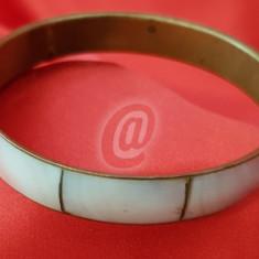 Bratara fixa cu sidef si cupru, 7 cm