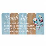 Tablou decorativ din lemn cu mesaj motivational, Beach Life, 50 x 25 cm