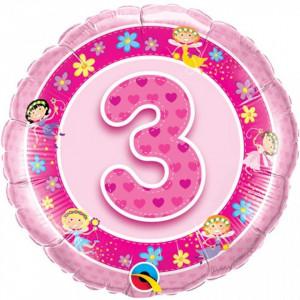 Balon roz 3 ani din folie cu zane 43cm