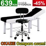 Scaun salon cu spatar, Negru + Masa cosmetica, Pat masaj profesional Alb-negru