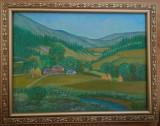"""Cumpara ieftin Tablou peisaj """"Vara la Vitioara"""" acrilic pe panza, 35x45 cm, rama lemn"""