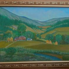 """Tablou peisaj """"Vara la Vitioara"""" acrilic pe panza, 35x45 cm, rama lemn"""