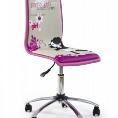 Scaun de birou pentru copii, tapitat cu piele ecologica Filipa 1 Roz, l43xA49xH86-98 cm