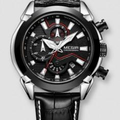Ceas Megir 2045 - Fashion Sport Cronograf Negru Curea piele