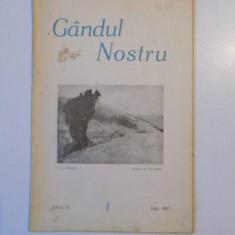 GANDUL NOSTRU, ANUL VI, NR. 1 1927