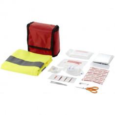 Trusa de prim ajutor 18 piese si vesta de siguranta, nylon, Everestus, TSPA02, rosu, saculet de calatorie inclus