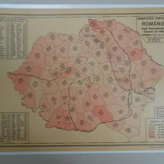 Harta Romania Mare, 1930, Densitatea populatiei Romaniei 1930, Inst. cart.Unirea