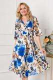 Rochie LaDonna cu imprimeu floral albastru