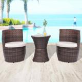 VidaXL Set mobilier bistro cu perne, 3 piese, maro, poliratan