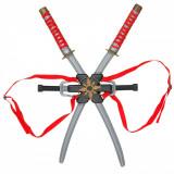 Set 2 sabii si 2 cutite ninja, 73 cm, multicolor