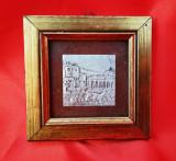 Tablou cu peisaj incrustat in argint, 8*8 cm