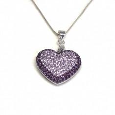 Inima Swarovski Phantasya Purple Lantisor Argint 925
