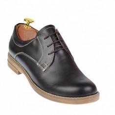 Pantofi dama casual din piele naturala maro box - LP102MBOX
