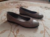 Balerini piele naturala, 38, Khaki