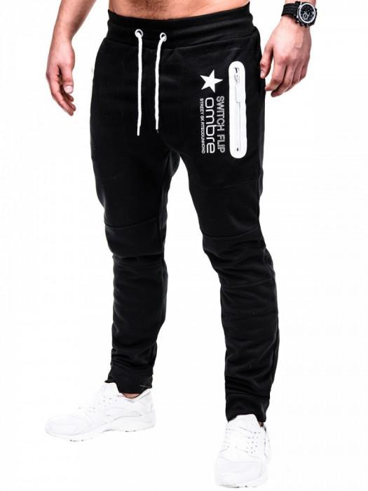 Pantaloni pentru barbati de trening, negru, fermoare, banda jos, cu siret, bumbac - p420