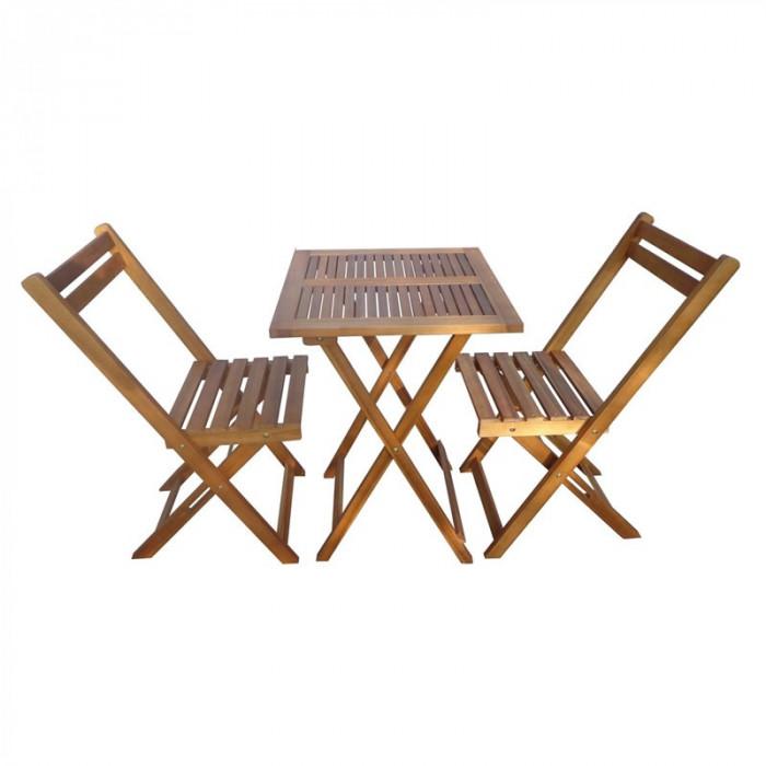 Masa cu 2 scaune pentru gradina Bistro, lemn, pliabile