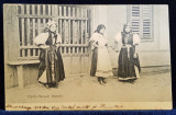 FEMEI DIN BANFFY - HUNYADI - HUEDIN , IN COSTUME POPULARE , LA POARTA , CARTE POSTALA ILUSTRATA , MONOCROMA , CIRCULATA , CLASICA , DATATA 1905