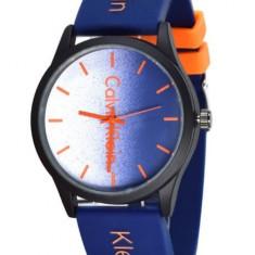 Ceas unisex Calvin Klein Albastru / Portocaliu curea din silicon