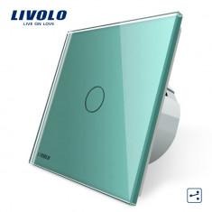 Intrerupator cap scara / cap cruce cu touch Livolo din sticla, Verde