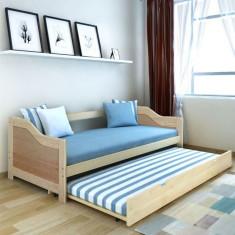 Pat canapea extensibil/pat de zi din lemn de pin, 200x90 cm foto