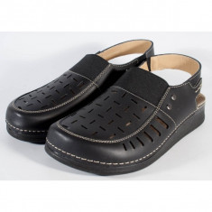 Sandale MUBB negre piele naturala pentru barbati/barbatesti (cod 3424)
