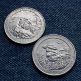 3h- Lot 2 x 25 cents Quarter dollar Virginia Illinois Statele Unite Americii USA, America de Nord