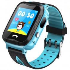 Ceas GPS Copii iUni Kid6, Touchscreen, Telefon incorporat, BT, Camera 2MP, Buton SOS, Rezistent la apa, Albastru