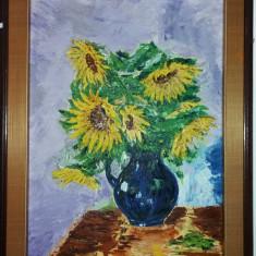 Tablou vechi - semnat CWM - Vaza cu flori (77)
