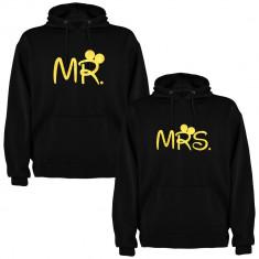 Set 2 Hanorace cuplu Mr. si Mrs., negru/auriu