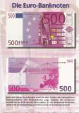 Germania, c. p. ilustrata de popularizare bancnotelor de 500 euro, necirculata, Printata