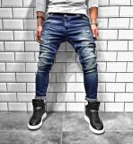 Cumpara ieftin Blugi pentru barbati, albastri, slim fit, conici, casual, skinny, zgarieturi decorative - BR-04