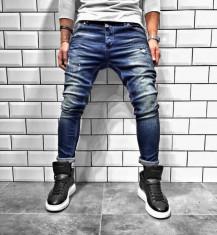 Blugi pentru barbati, albastri, slim fit, conici, casual, skinny, zgarieturi decorative - BR-04 foto