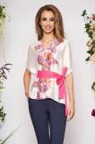 Bluza dama PrettyGirl fuchsia eleganta cu croi larg cu decolteu in v fara maneci cu imprimeuri grafice
