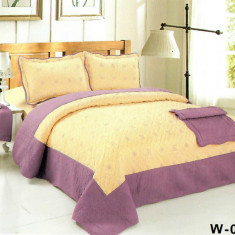 Cuvertura de pat + 2 Fete de Perne - Pat 2 Persoane - 100% Bumbac Brodat - W-006