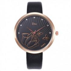 Ceas de dama elegant Disu CS1049, curea piele, model negru