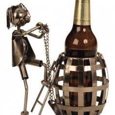 Suport pentru sticla bere model butoi metal lucios H 20cm