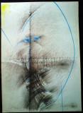 Acasandrei Aurel , desen si culoare ,abstract ,coloana