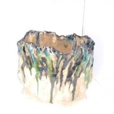 Vaza raku ceramica de studio, hand made - UNICAT - stil Awaji, Japonia