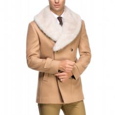 Palton Barbati cu Guler Detasabil de Blana AG B135 Camel