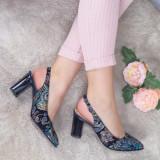 Pantofi Piele Venice albastri decupati