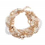 Brăţară - şnur alb, răsucit în formă de spirală, lanţ auriu, mărgele