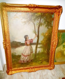 B886-Tablou Nagy Vilmos-Femeie in peisaj ulei/panza pictor maghiar.