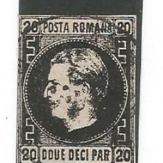 No(02) ROMANIA  1867 Carol I cu favoriţi 20 parale