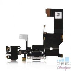 Banda Flex iPhone 5 Mufa Incarcare Cu Microfon Si Jack Audio Originala Neagra