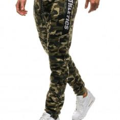 Pantaloni joggers sportivi pentru bărbat camuflaj-verzi Bolf QN267