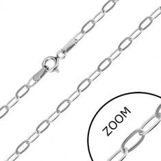 Lanț din aur alb de 14K - zale alungite, închidere de tip inel cu arc, 550 mm